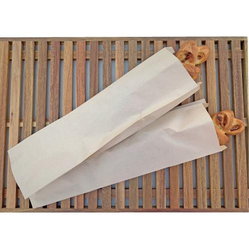 画像1: 未晒 パンの包装工場超ロング耐油ガゼット袋(無地)茶 (1)
