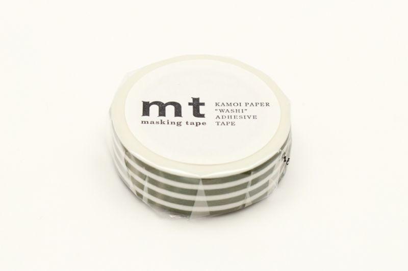 画像1: マスキングテープmt 1P ボーダー・オリーブ (1)