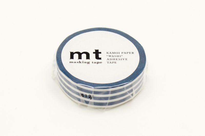 画像1: マスキングテープmt 1P ボーダー・インディゴ (1)