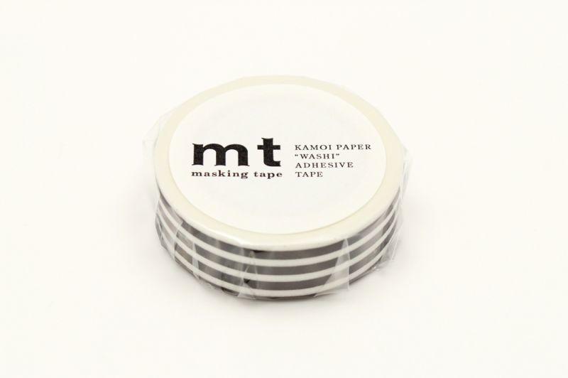 画像1: マスキングテープmt 1P ボーダー・ブラック (1)