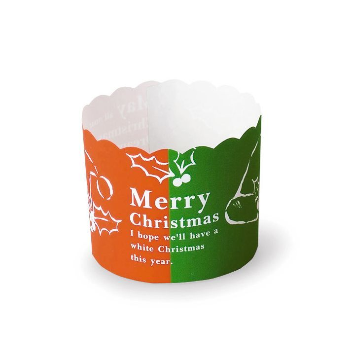 画像1: XM634 ケーキカップ(ツートンカラークリスマス) 100入 数量限定 (1)