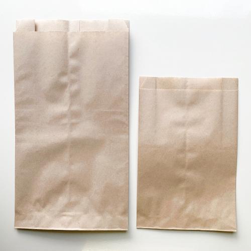 画像1: 未晒 パンの包装工場耐油ガゼット袋(無地)M茶 (1)